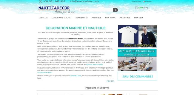 NAUTICADECOR, specialized in the manufacture, distribution and selling of all types of marine decoration